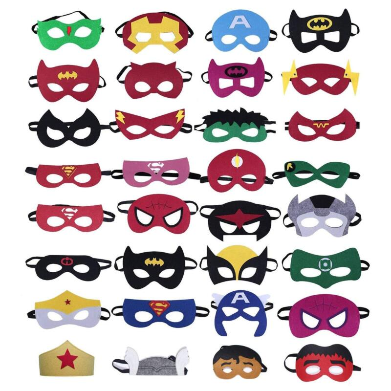 32Pcs Kinder Superhelden Masken Halbmasken Kinder Party Kostüm Kostüm Requisiten