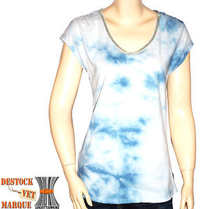 maison scotch tee shirt tie and dye tee bleu femme ebay. Black Bedroom Furniture Sets. Home Design Ideas