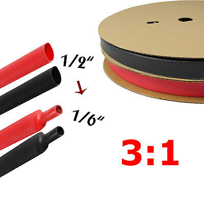 Black Red Heat Shrink Tube Tubing Sleeving Wrap Wire Cable Insulated 12