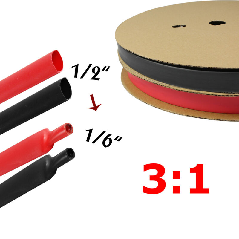 Black & Red Heat Shrink Tube Tubing Sleeving Wrap Wire cable Insulated 1/2""