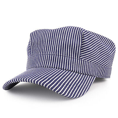 Denim Blue Stripe Train Engineer Conductor Cap Fits Infant to Adult - FREE - Engineer Caps