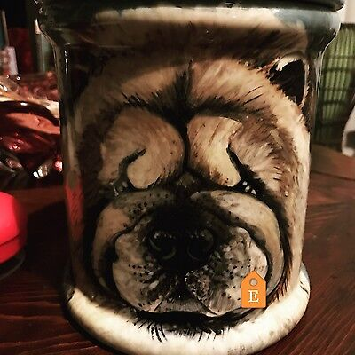 Custom Ceramic DOG TREAT Cookie Jar paw prints Chow urn any BREED large