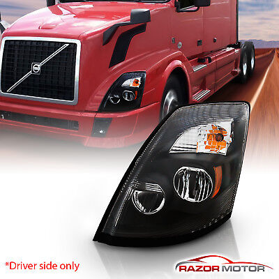 2004-2017 Replacement Black LED Headlight Left Driver Side for Volvo VNL, VNX Black Driver Side Replacement