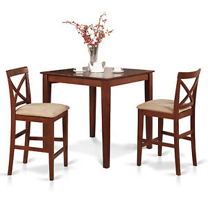 3pc counter height pub set 36x36 table 2 bar stool padded chairs