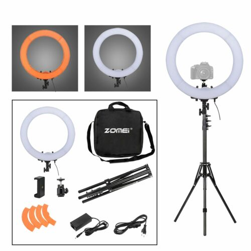 """18""""Ring LED Light Lamp dimmable Adjustable Tripod Kit for Video Shoot Fit Camera"""