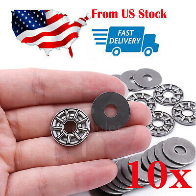 10x Thrust Needle Roller Bearing 8x19x2 Mm Thrust Bearings With 2 Washers
