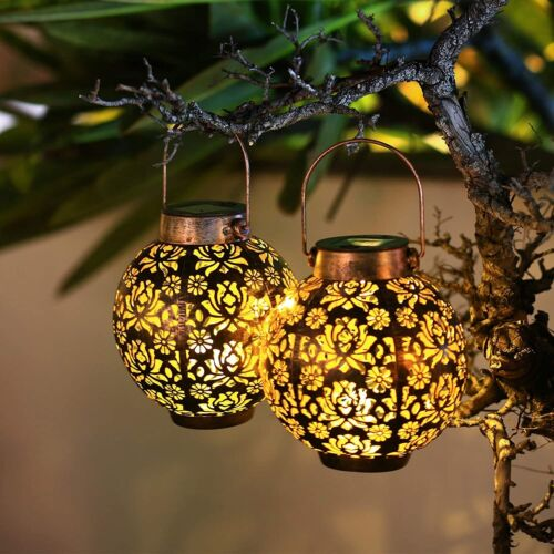 2 Pack Solar Lanterns Outdoor Hanging Solar Lights Retro Waterproof Garden Decor