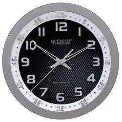 404-1210S La Crosse Technology 10 Atomic Wall Clock with Bezel - Silver