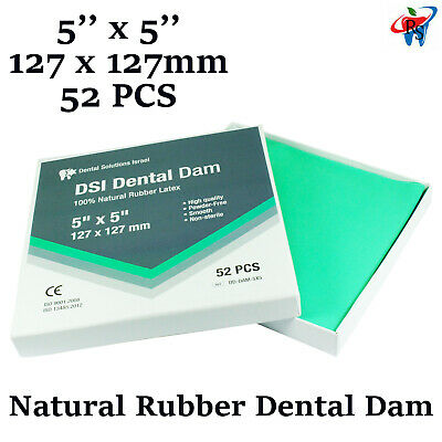 Dental Dam Sheet Natural Rubber Latex 52 Units 5x5 Inches 127x127 Mm