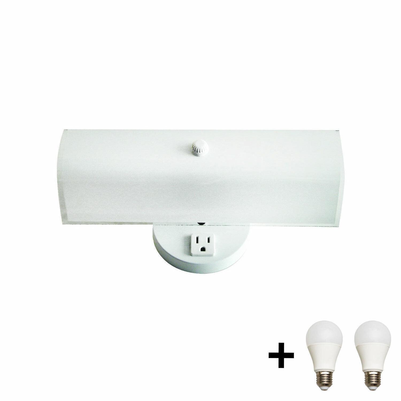 Bennington 2 Bulb Bath Vanity Light Fixture, Plug-in Receptacle, White + Bulbs Home & Garden