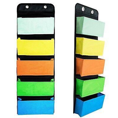 Wall File Folder Organizer Desk Mail Mount 5 Pocket Hanging Cascading Cabinet