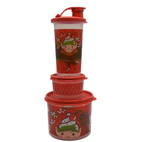 Tupperware Lunch Set Christmas Elf Boy Snack Cup 10.5 oz Tumbler Canister