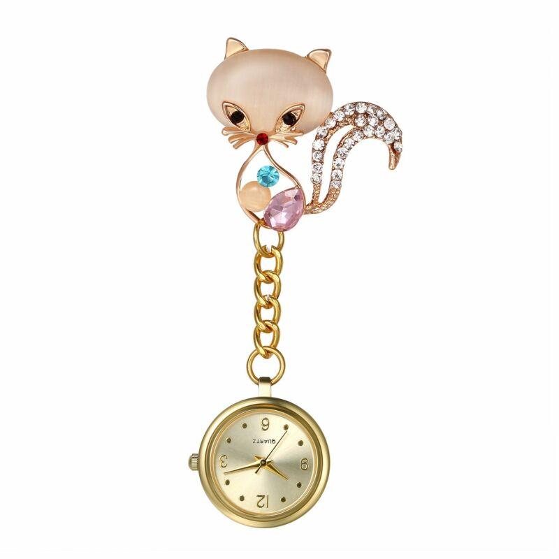 Women Nurse Watch Cat/Flower Pin-on Brooch Hanging Lapel Watch Quartz Fob Watch