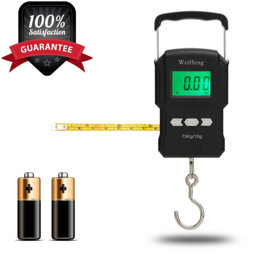Digital Fish Scale Hanging Scale w/ Built-in Measuring Tape Backlit LCD Display