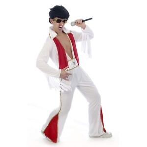 Mens Rockstar Elvis Presley Fancy Dress Jumpsuit Costume Rock Star