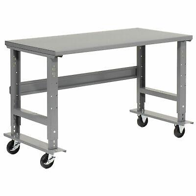 Mobile Adjustable Height C-channel Leg Workbench Steel 60w X 30d Gray