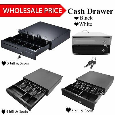 5 Bill 5 Coin Cash Register Drawer Money Box Wtray Lock Storagekeys Sale W6h0