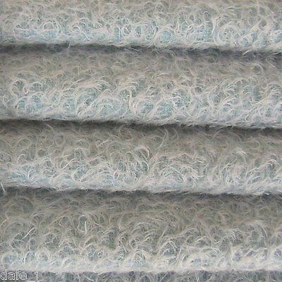 """1/6 yd 300S/CM Soft Blue INTERCAL 1/2"""" Ultra-Sparse Curly Matted Mohair Fabric"""