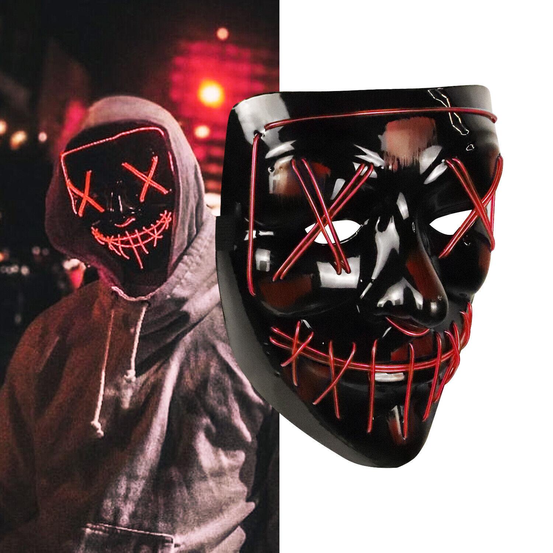 """Light Up Masks """"Stitches"""" LED Costume Mask Halloween Rave Co"""