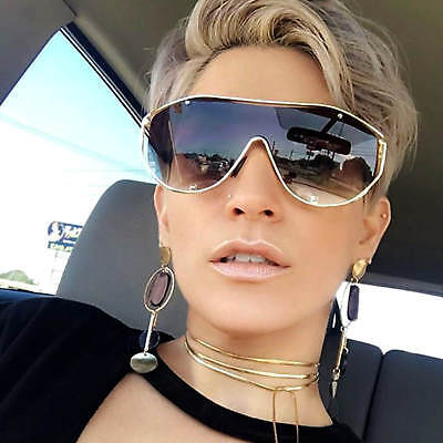 Oversized Women Sunglasses Futuristic Metal Frames Mirrored and Gradient Lens (Gradient Mirror Sunglasses)