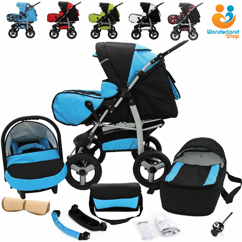 Kombi Kinderwagen Sportwagen Babywagen Set 3in1 Autositz +Ausrüstung  20 FARBEN