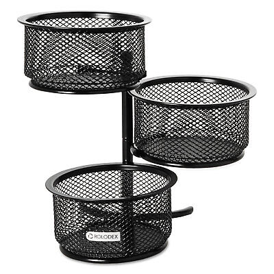 Rolodex 3 Tier Wire Mesh Swivel Tower Paper Clip Holder 3 34 X 6 12 X 6 Black