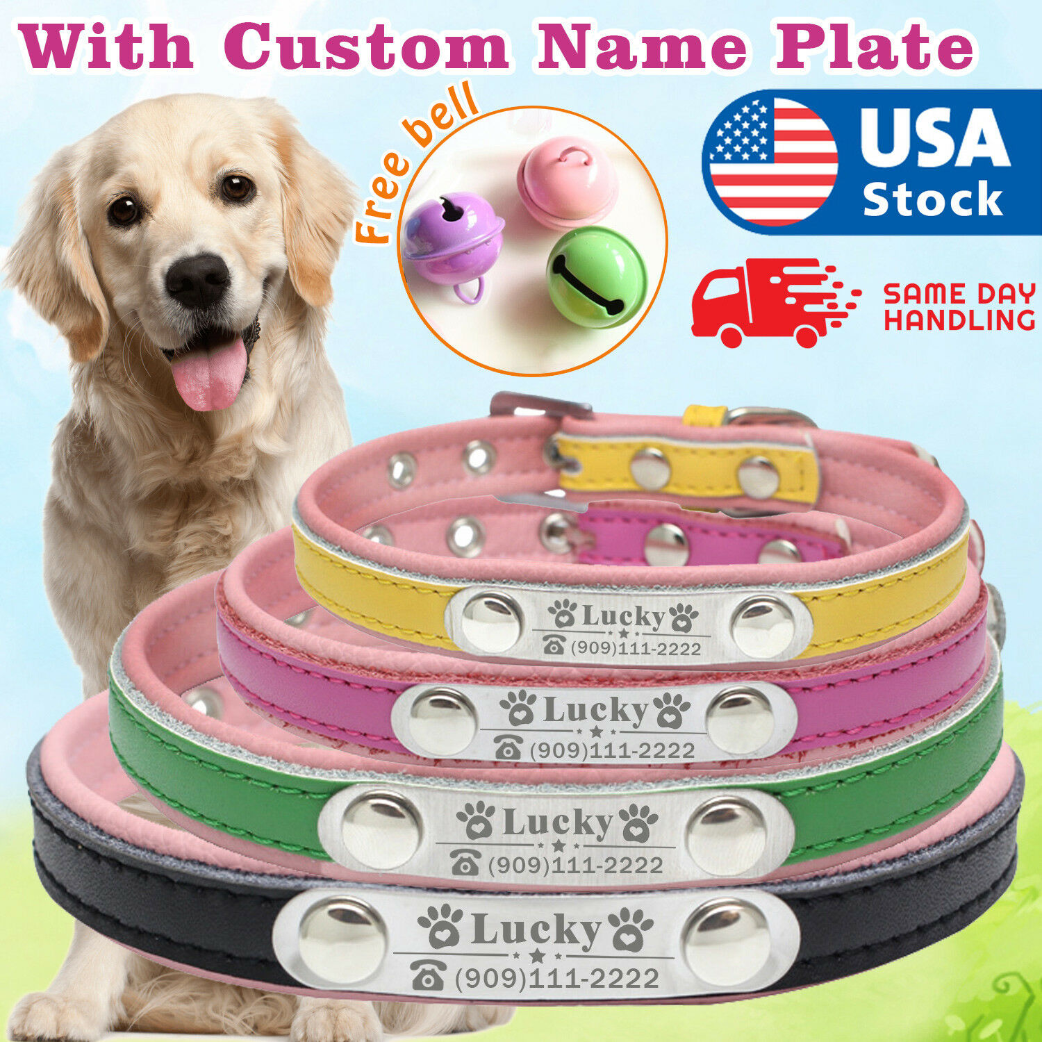 dog collar leather personalized with name plate Custom dog tags engraved ID tag Collars