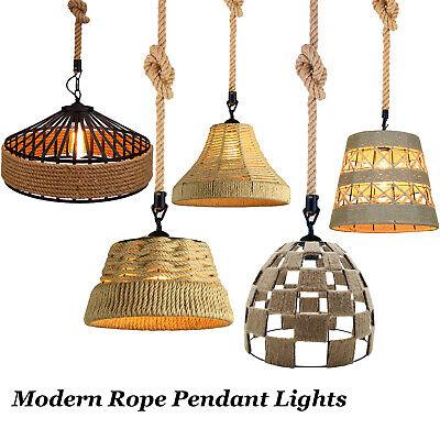 Vintage Retro Industrial Loft Hemp Rope Iron Pendant Ceiling Light Retro Lamp
