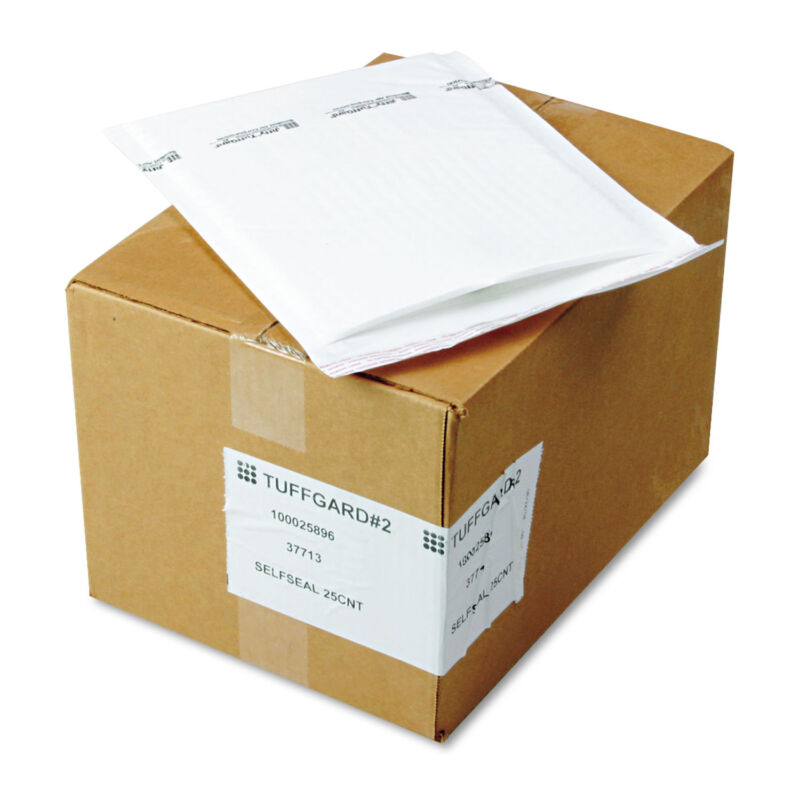 Sealed Air Jiffy TuffGard Self-Seal Cushioned Mailer #2 8 1/2 x 12 White 25