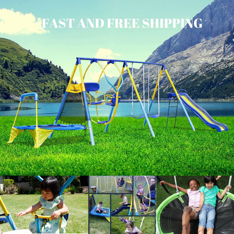 Swing Set Metal For Backyard Playground Toddler Kids Slide F