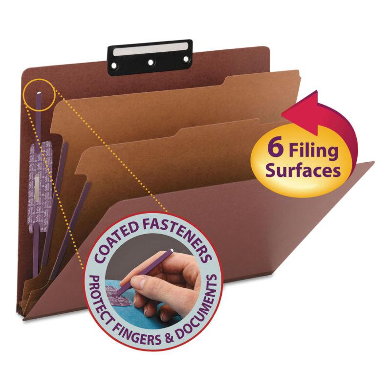 Smead Pressboard Classification Folders Metal Tab Letter Six-Section Red 10/Box