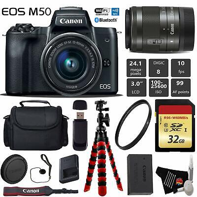 Canon EOS M50 Mirrorless Digital Camera +15-45mm Lensxible Tripod + UV Protectio