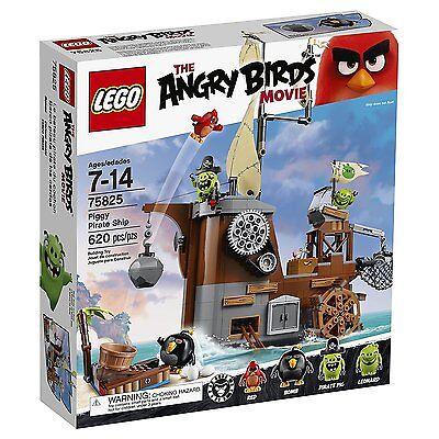 (NEW SEALED) ANGRY BIRDS MOVIE LEGO PIGGY PIRATE SHIP 75825 KIDS BUILDING SET