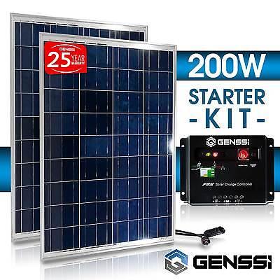 PV SOLAR KIT: 200W Watt = 2x 100W PV Solar Panel 12V RV Boat + Charge Controller