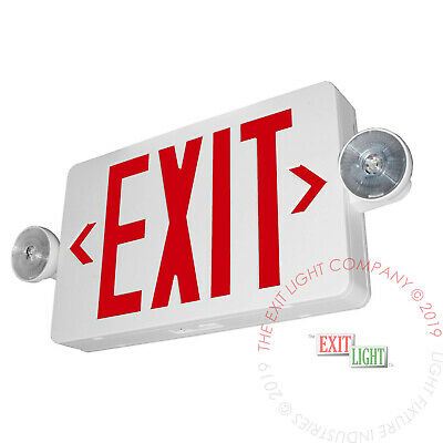 Led Exit Sign Emergency Light Red Compact Combo Ul924 Fire Safety - Comborjr