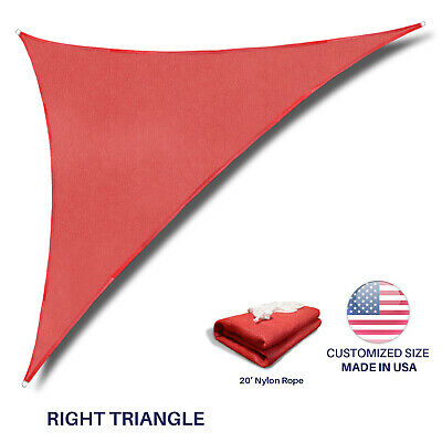 Custom Size Red Right Triangle Sun Shade Sail Outdoor Canopy Awning Patio Pool ()