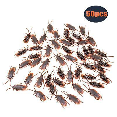 Gag Toys (50Pcs Lifelike Fake Cockroach Roach Bugs Model Prank Trick Joke Toy Gag Gifts)