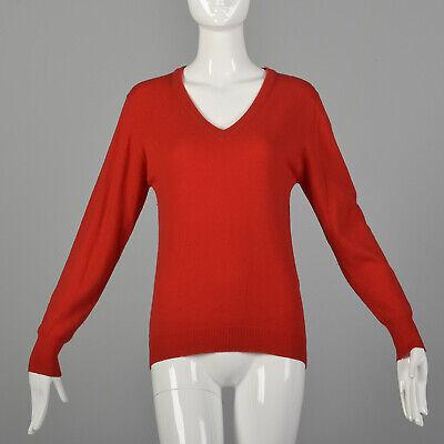 80s Sweatshirts, Sweaters, Vests | Women S 1980s Red Sweater Cashmere Wool V-Neck Lightweight Cozy Classic Jumper 80s VTG $86.70 AT vintagedancer.com