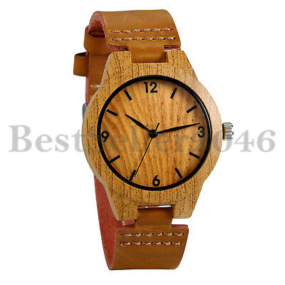 Men Women Faux Wooden Dial Brown Genuine Leather Band Analog Quartz Wrist - Dial Leather Wrist Watch