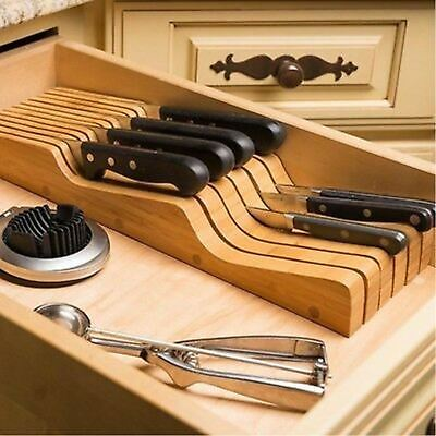 In Drawer Knife Storage Block Organizer Organic Bamboo Wood Holder Slot 16 New
