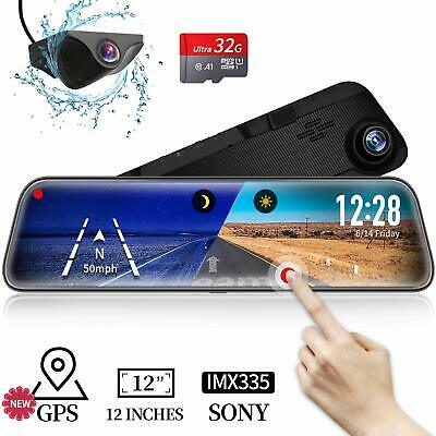 "VVCAR 12"" HD Mirror Dash Cam SONY Senso 1296P Front Backup Camera GPS Touch Rear"