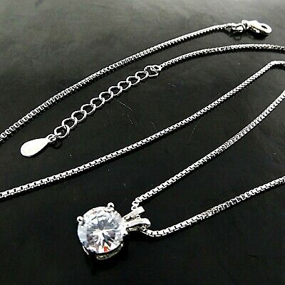 Jewellery - Necklace Chain 925 Sterling Silver Filled Ladies Diamond Simulated Pendant