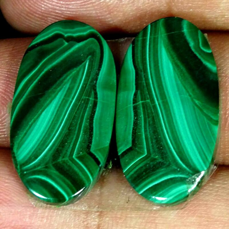 34.50Cts A+ 100%Natural Green Malachite Pair Oval Cabochon Loose Gemstone