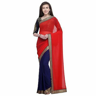 Red Blue Half n Half Saree Party Wear Indian Ethnic Wedding Designer Sari for sale  Shipping to Canada