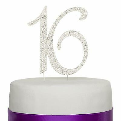 Sweet 16 Sixteen Birthday Cake Topper - Silver Number Rhinestone 16th Decoration 16 Birthday Cake
