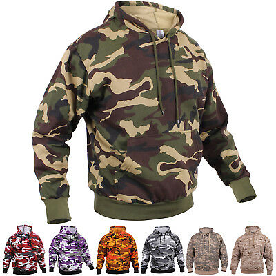 Camo Hoodie Pullover Hooded Sweatshirt Army Military Camouflage Tactical Fleece Camo Hooded Pullover