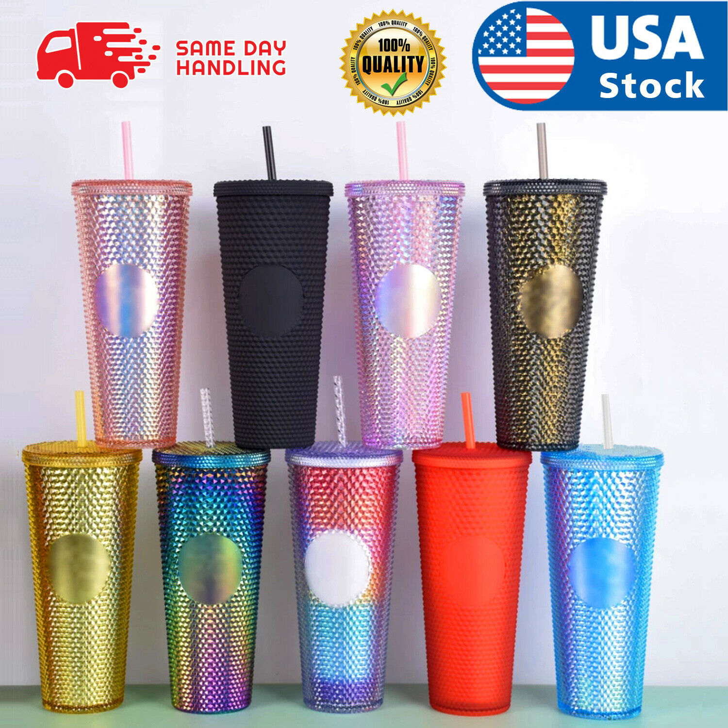 24oz Diamond Durian Double Wall Tumbler Pool Beach Cup with Straw Coffee Cold US Advertising