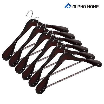 ALPHA HOME Extra-wide Suit Coat Hangers Luxury Wooden Hangers, 6 Pack ()