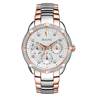 Bulova Women's 98R177 Quartz Diamond Accents Chronograph Two-Tone 36mm Watch