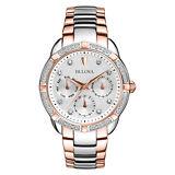 Bulova Women's 98R177 Quartz Diamond Accents Chronograph Two-Tone 36mm Watch
